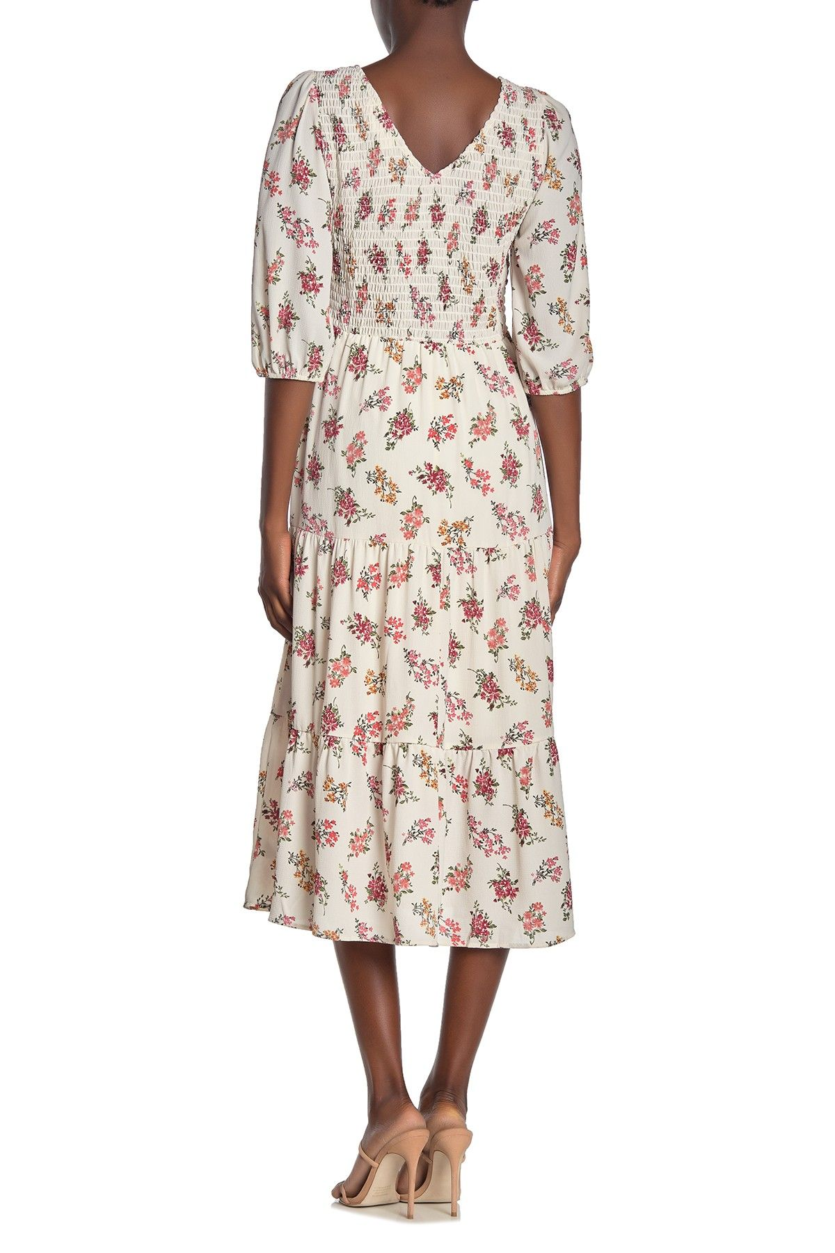 Superfoxx Smocked Bodice 3 4 Sleeve Midi Dress Hautelook Midi Dress With Sleeves Midi Dress Dresses [ 1800 x 1200 Pixel ]