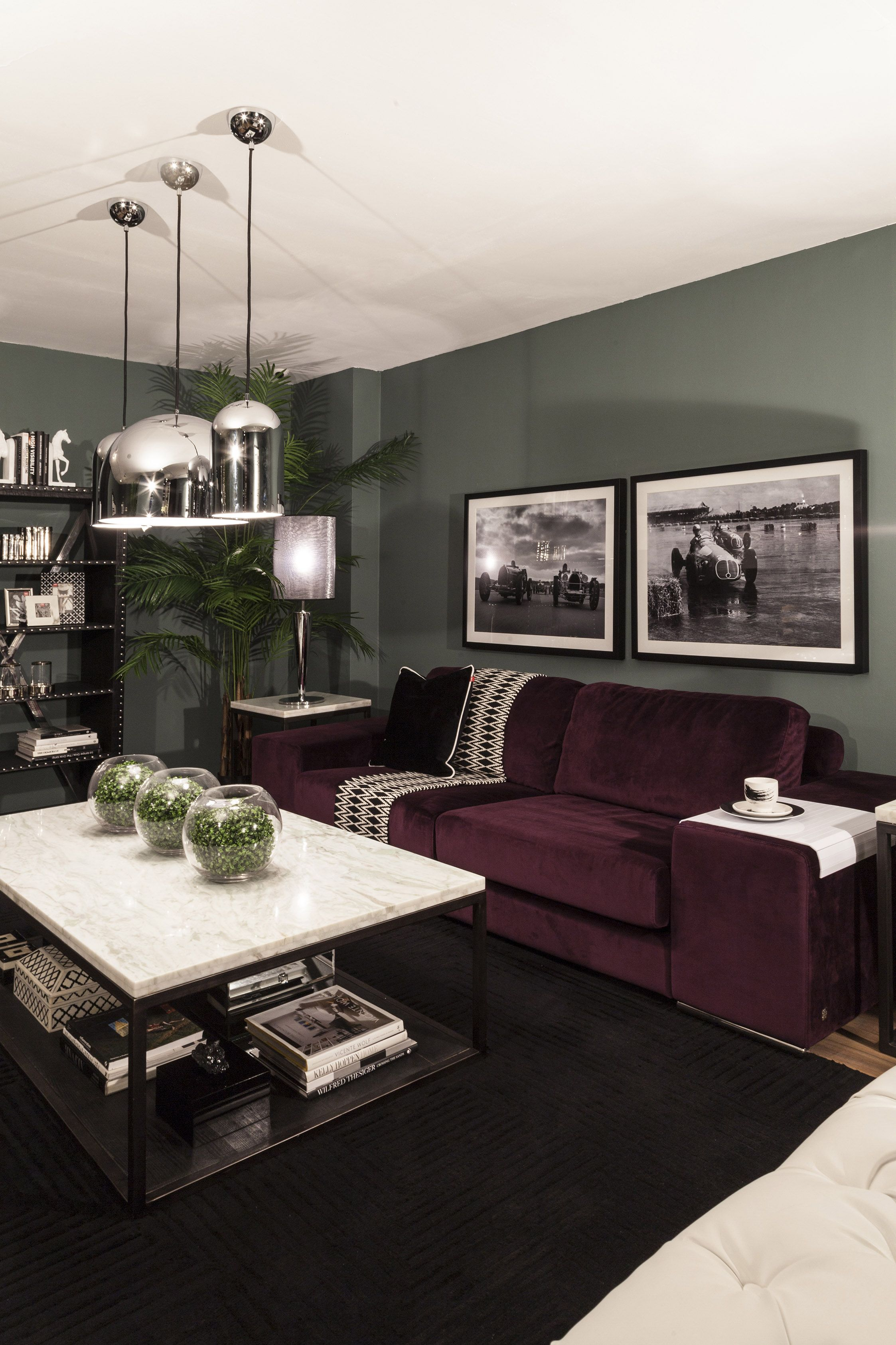 Living | Iconic: This Clean Lined Masculine Look Combines A Sophisticated  Palette Of Aubergine, Grey Green, Black And White For A Very Manly Interior  Until ...