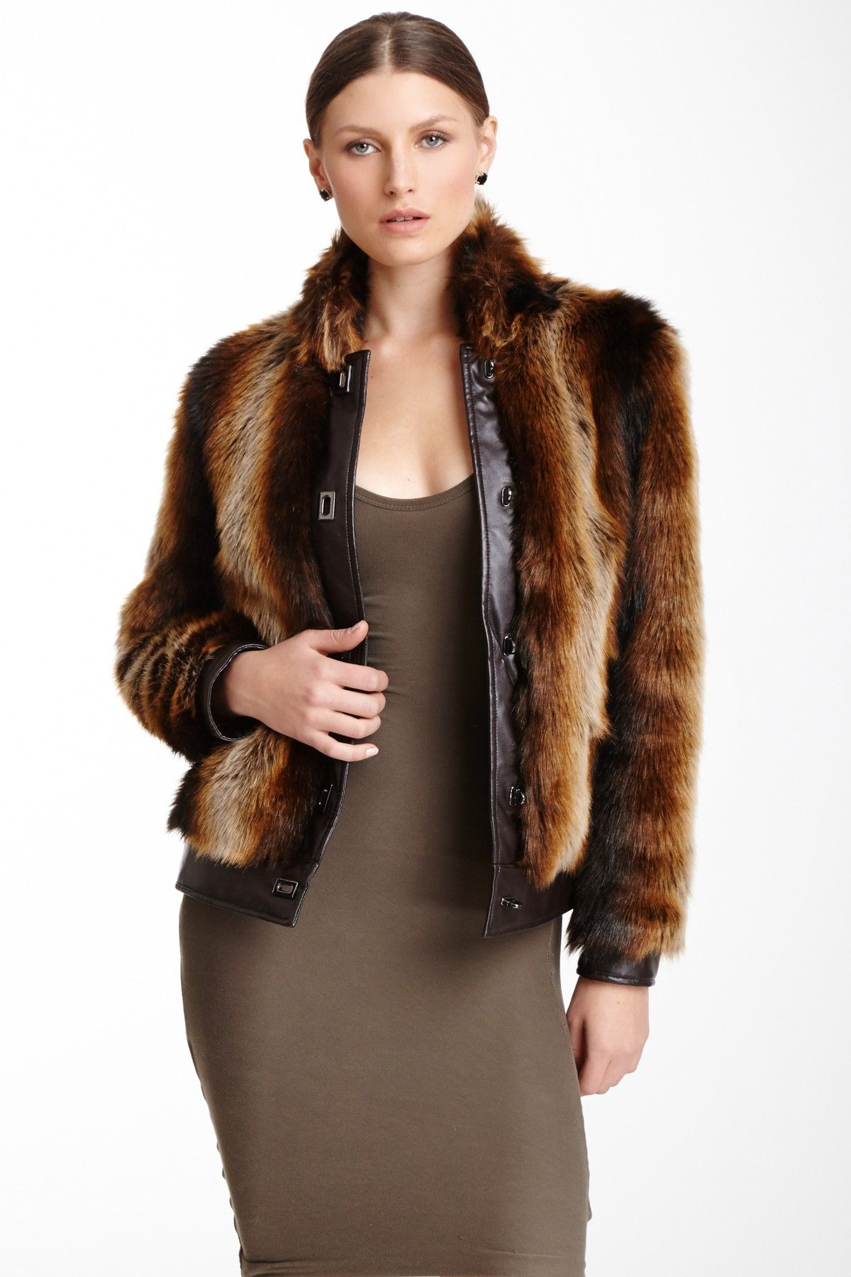 Tanuki Faux Fur & Leather Jacket Jackets, Fashion