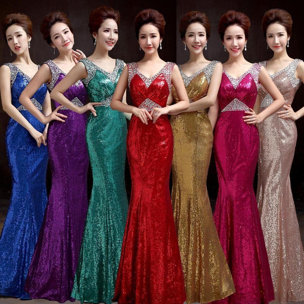 Drasawee Women Strapless Sequins Evening Dress Long Mermaid Bridal Gowns