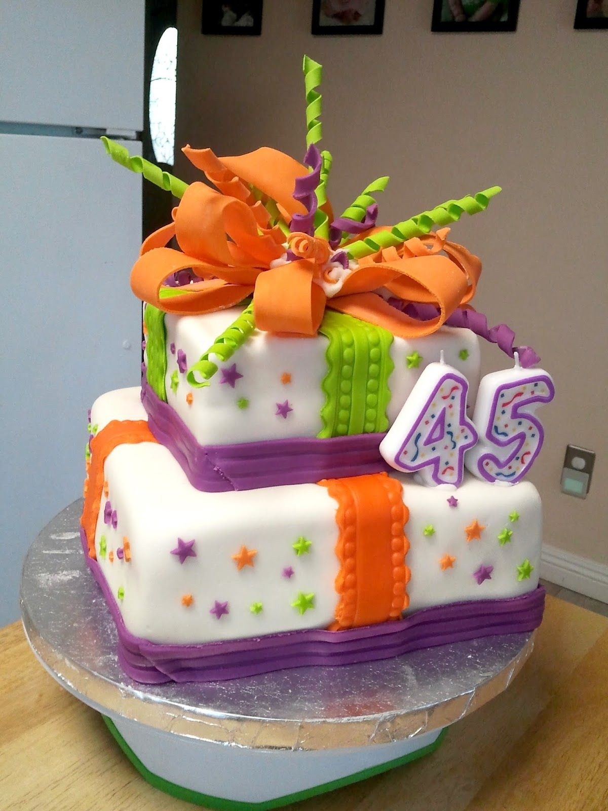 45th Birthday Cake Idea Birthday Present Cake Fondant Cakes