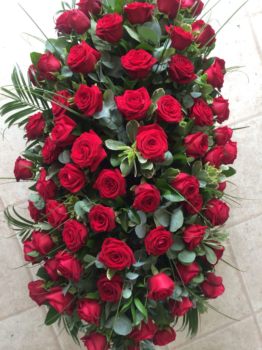 Red Rose Coffin Spray Diy Funeral Spraywreath Pinterest