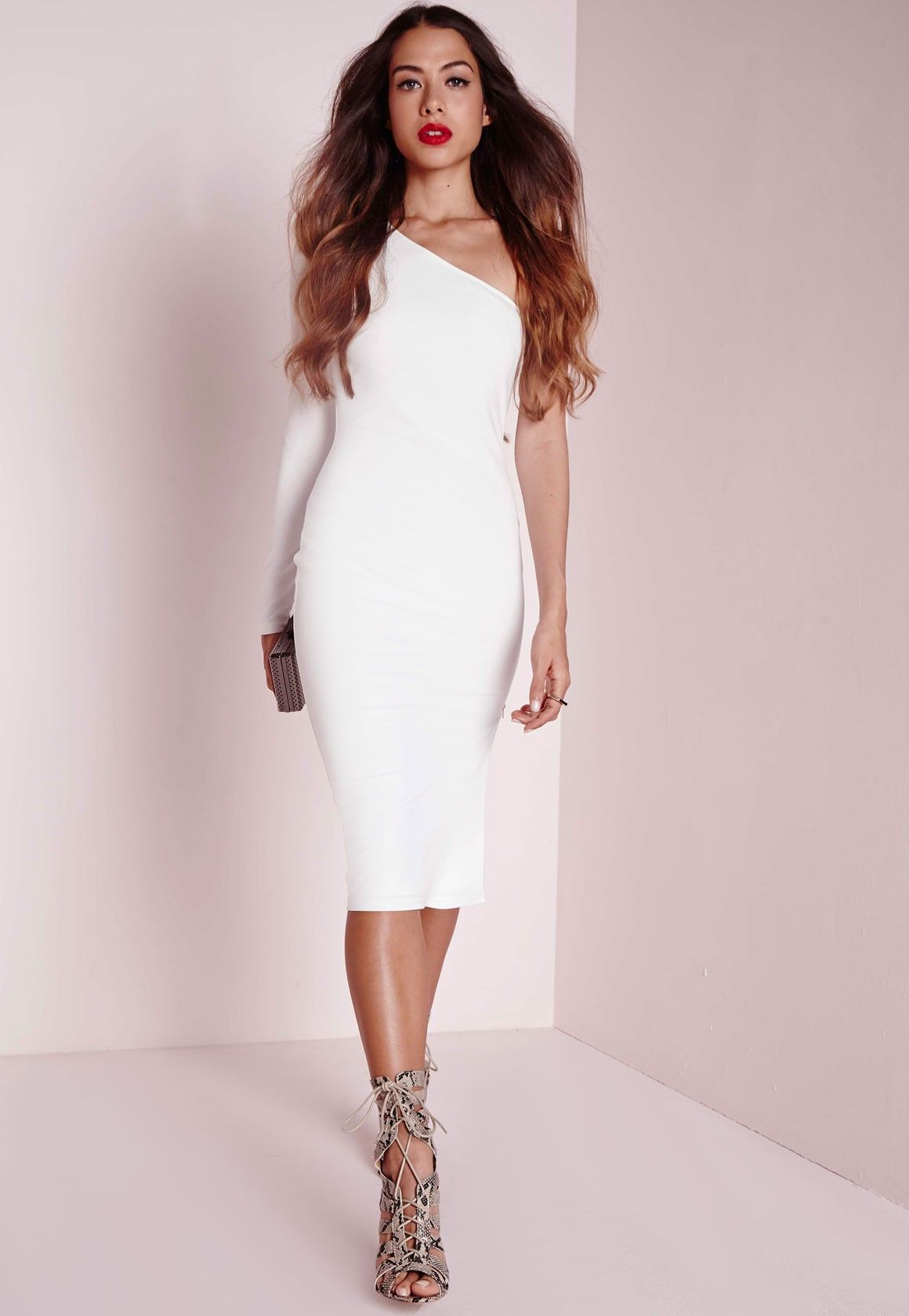 $34 Missguided - One Shoulder Zip Detail Midi Dress White | Watch ...