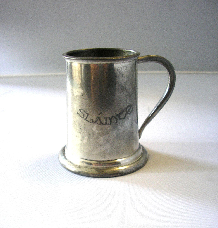 Vintage miniature pewter tankard stein Sláinte 'cheers