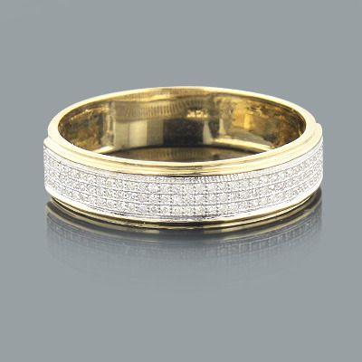 Mens Diamond Bands 14K Gold Diamond Ring 027ct Gold diamond rings