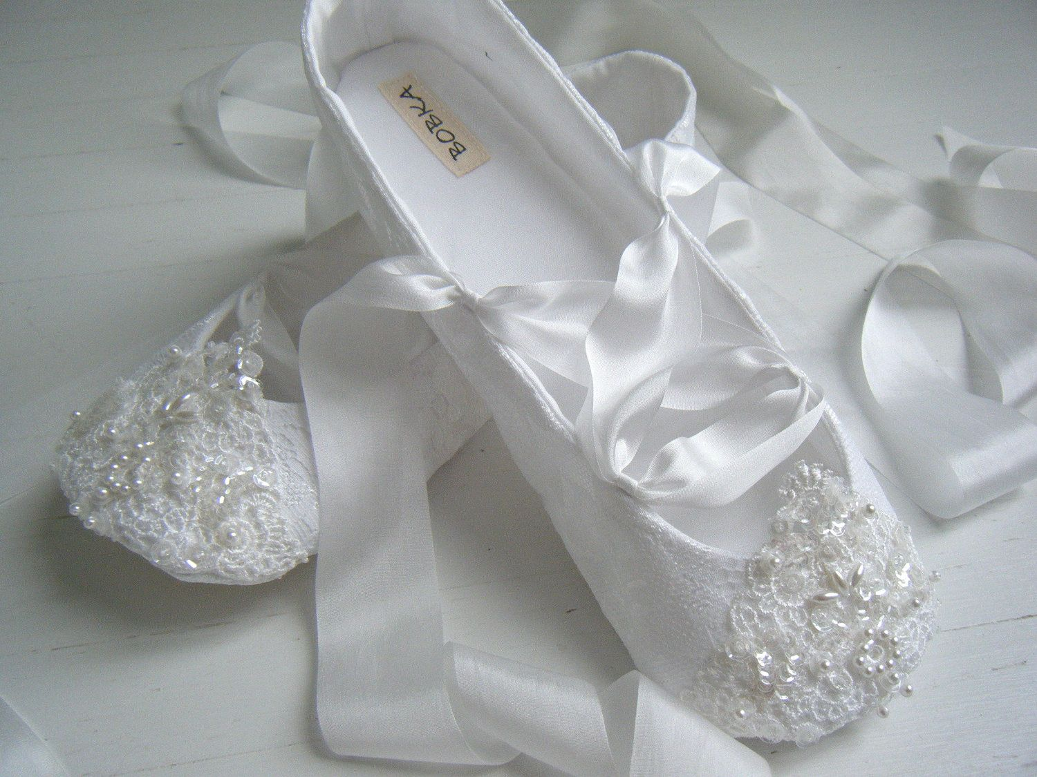 Bridal Ballet Flats, White FAIRYTALE Ballet Shoes, Wedding Shoes ...