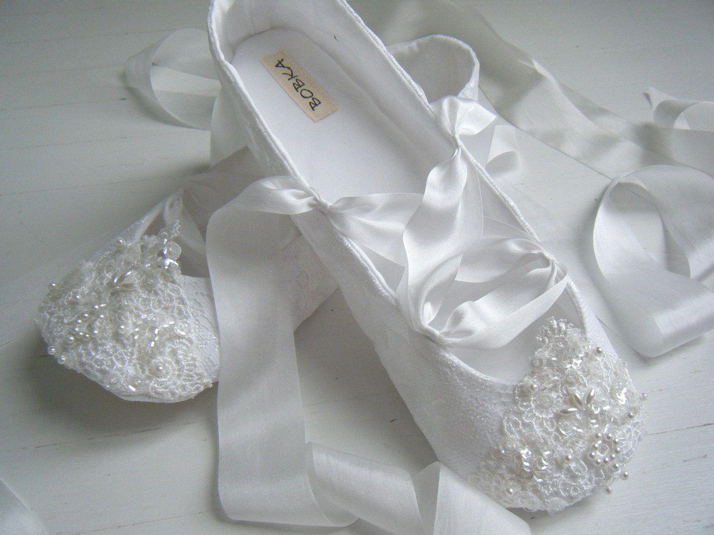 Bridal Ballet Flats, White FAIRYTALE Ballet Shoes, Wedding Shoes ...