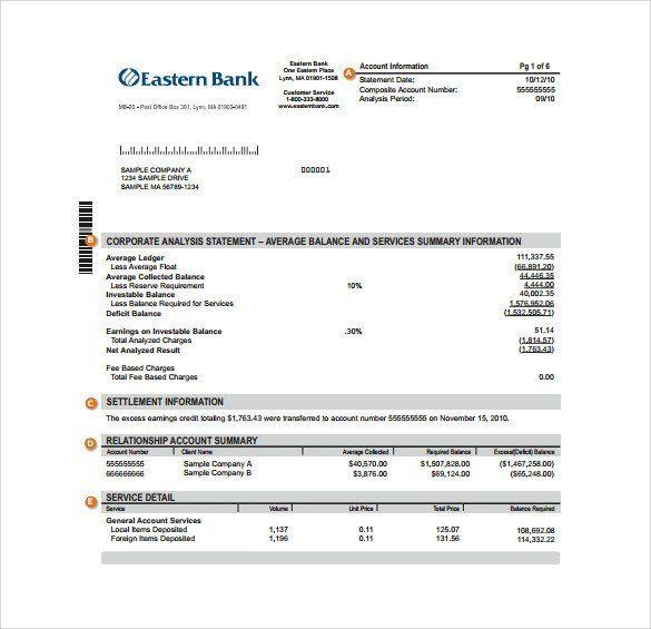Free Bank Statement Template Sample Bank Statement Template 13 Free Documents Statement Template Bank Statement Statement