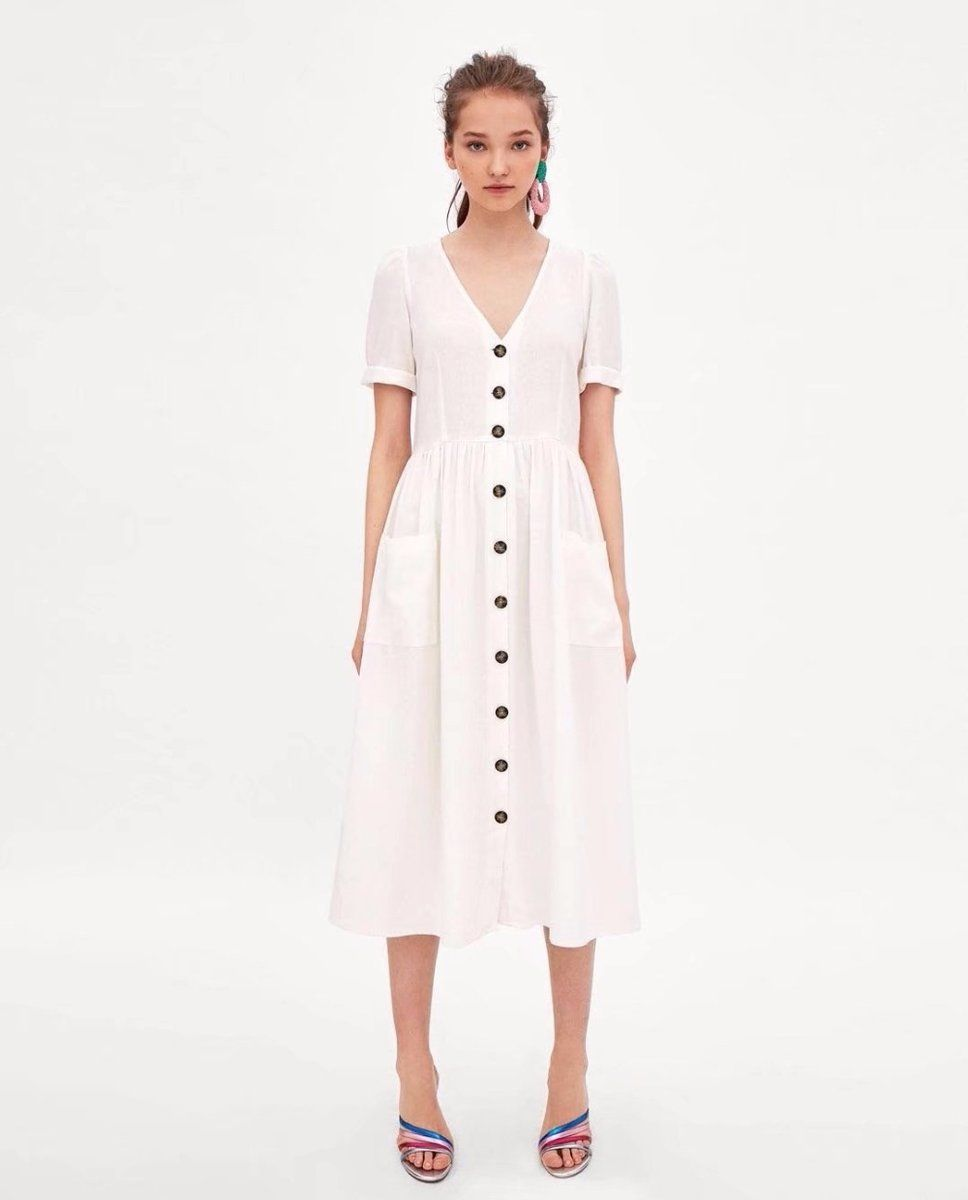 668ef6abfae8 Summer Linen White Buttoned Midi Dress with Pockets