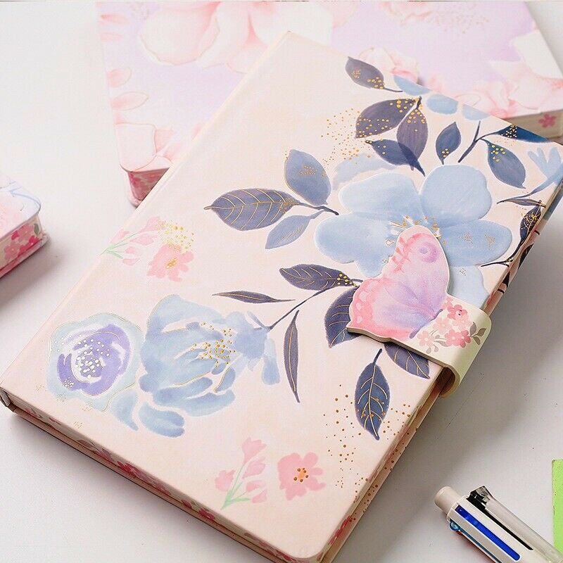 Flowery 1pc Hard Cover Diary Girls Women Journal Cute Notebook