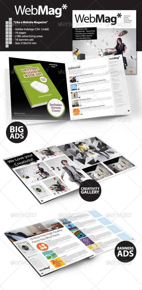 WebMag - InDesign Magazine Template | Indesign magazine templates ...