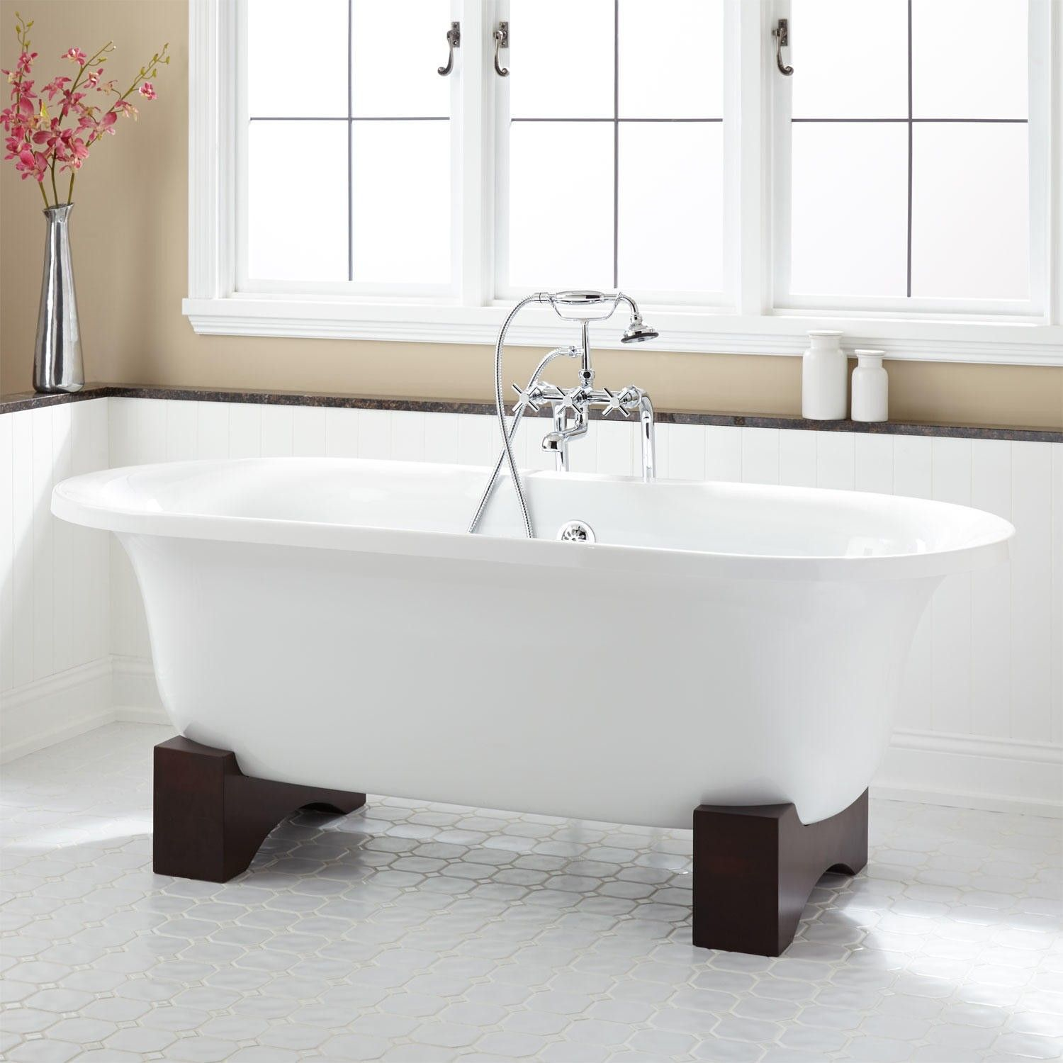 freestanding tub with faucet holes. 68  Poynter Acrylic Tub on Wood Cradles Bathrooms Pinterest