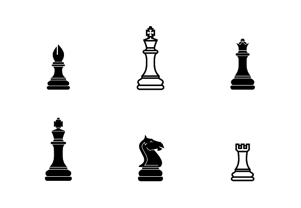 Chess Set Pieces Icons By Demograph Chess Set Vector Graphics Settings