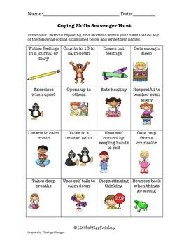 Coping Skills Scavenger Hunt worksheet PDF | useful things ...