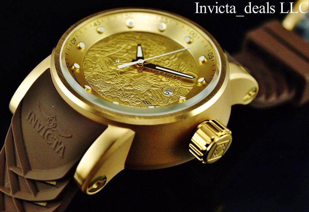 f2c370c0548 Relógio Invicta Masculino S1 Dragão Yakuza 18K Gold Ip Automático NH35A Ss  Pulseira Marrom