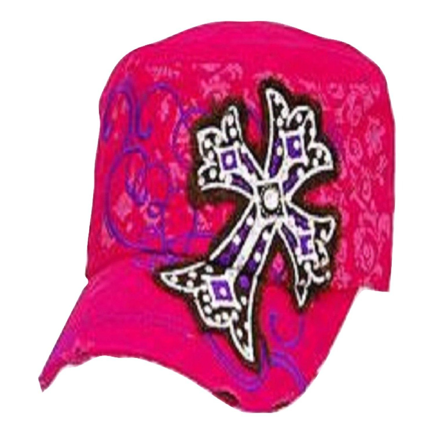 Leader Hot Pink Patch Cross Vintage Hat with Rhinestones   Trendy Hats f84fbb8a539