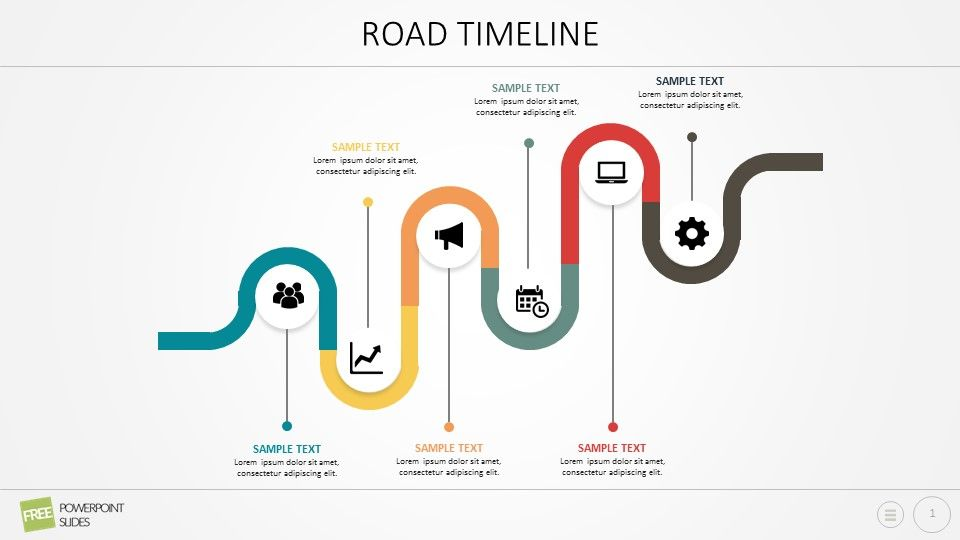 Curved Road Powerpoint Timeline Road Timeline Has A Number Of