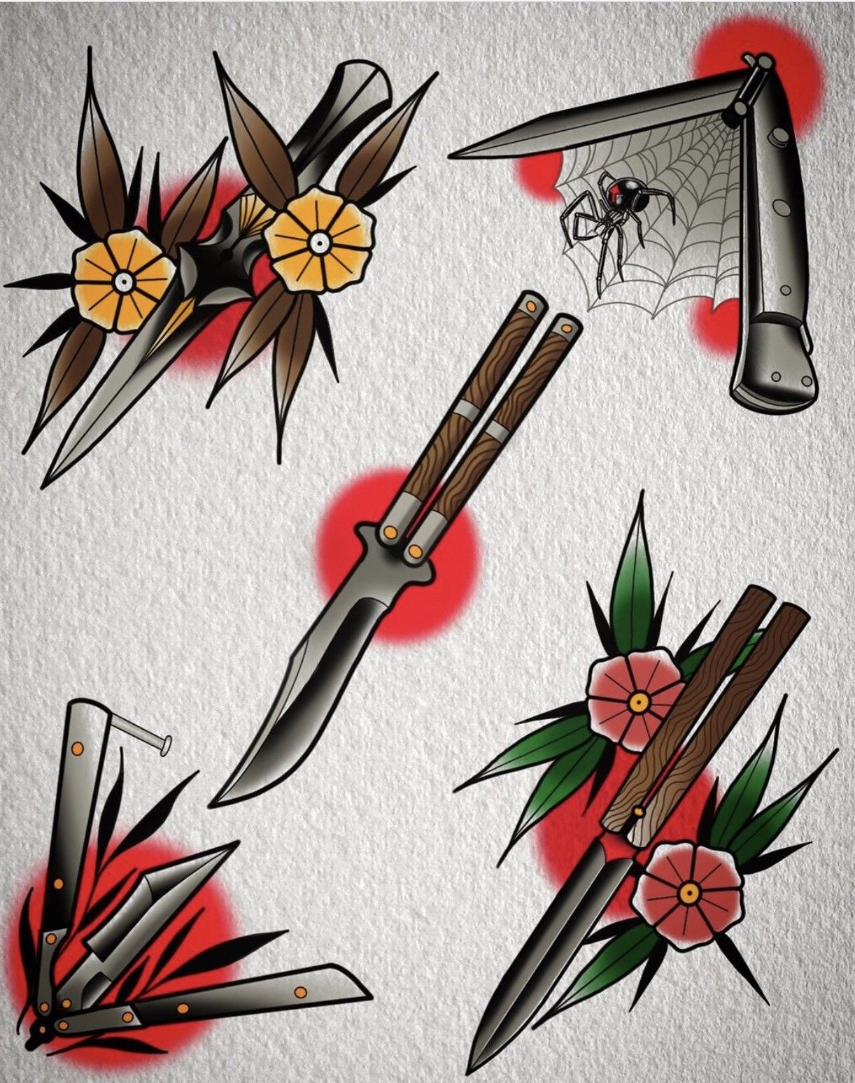 Traditional Butterfly Knives Traditional Tattoo Design