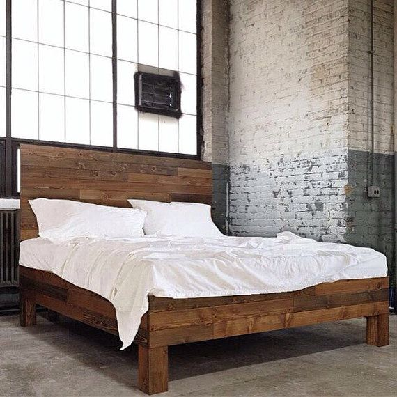 Original Aged Cedar Barn Wood Style Bed Frame & Headboard Set ...