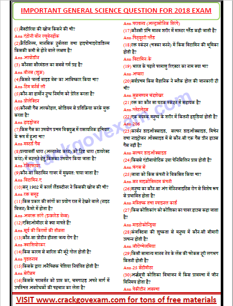 General Science In Hindi Pdf Objective Questions Download Free In