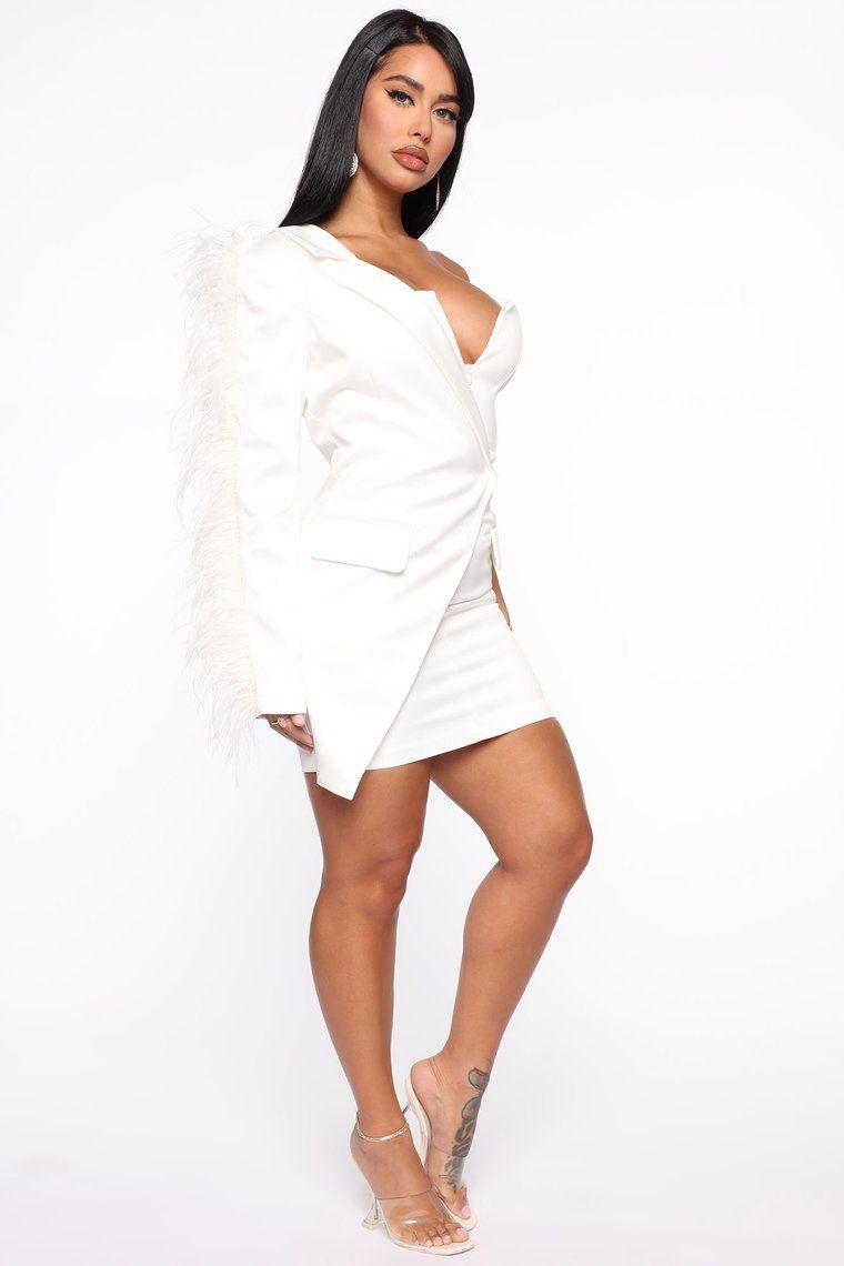 Crazy On You Mini Dress White Blazer mini dress, White