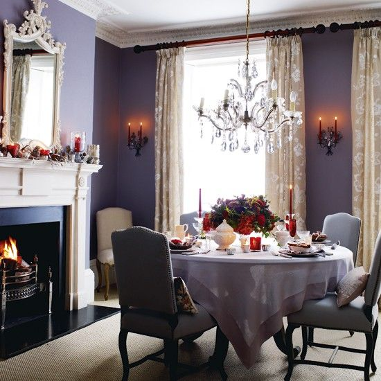 Lilac Dining Room With Red Accents