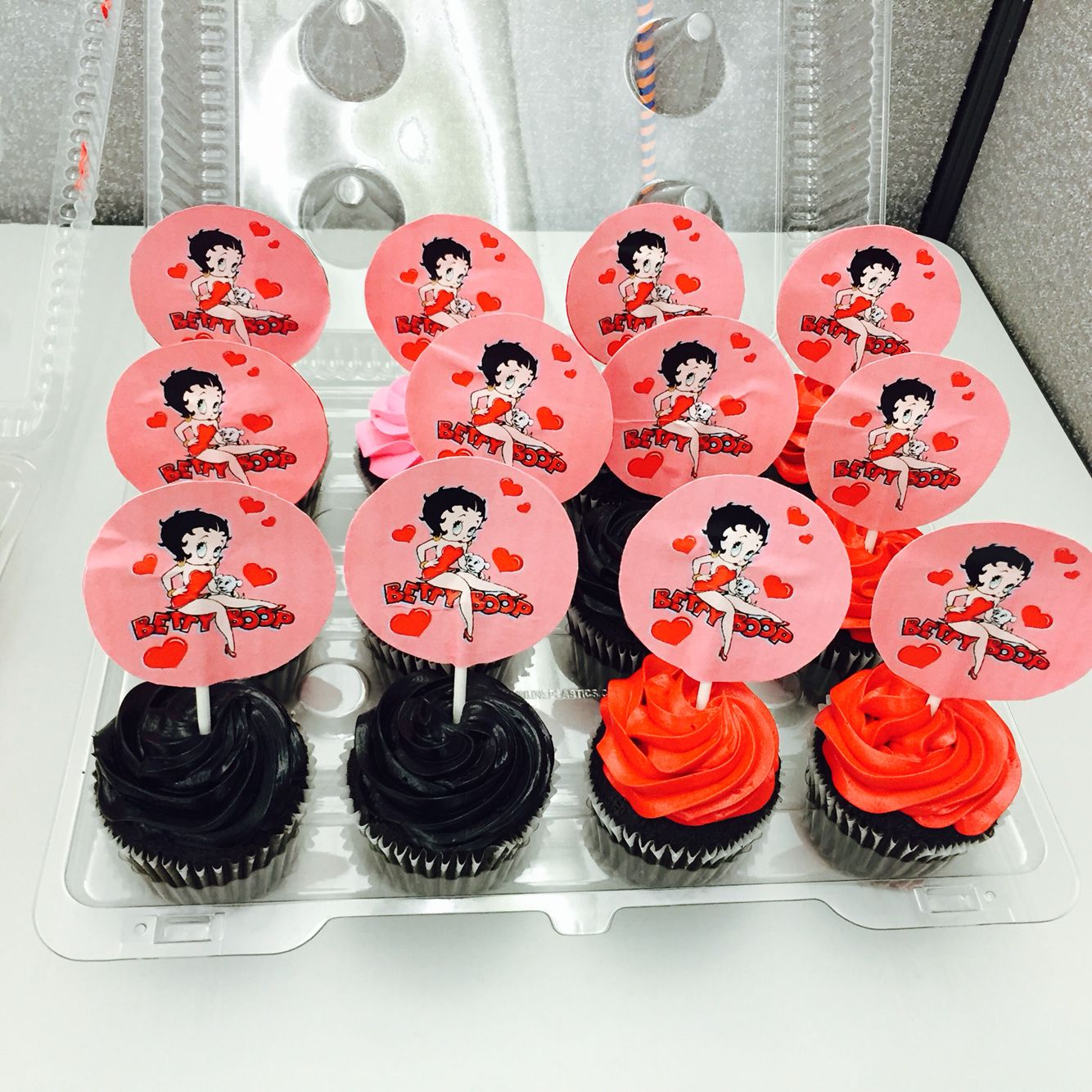 Betty Boop Cupcakes I Made For A Coworker Book Cakes Baked Drink Mini Cupcakes