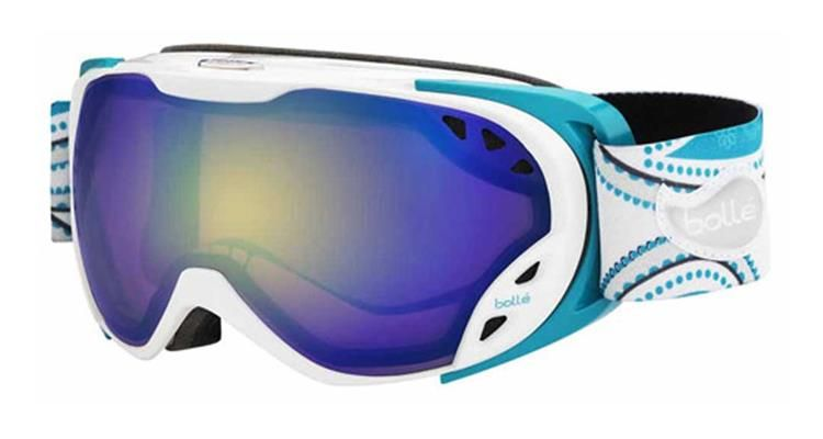 908e7cb97dee Bolle Duchess Snowboard Goggles - Paisley patterned aqua colored strap.  This Aurora Lens is great for all-day light conditions on the slopes.