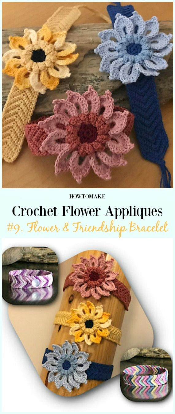Easy Crochet Flower Appliques Free Patterns for Beginners | Easy ...