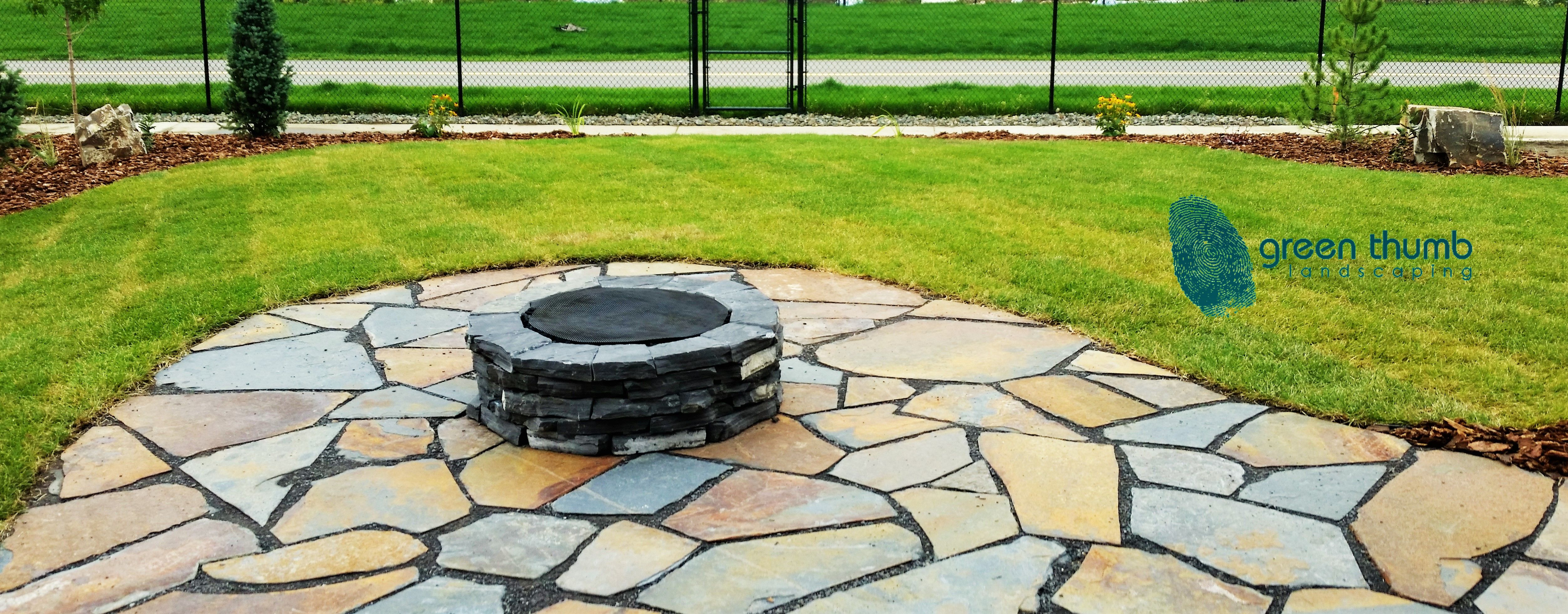 Creston Valley Flagstone Patio With A Custom Made Rundle Firepit. The  Unique Colours Give This Natural Stone Patio A One Of A Kind Look That Will  Make Your ...