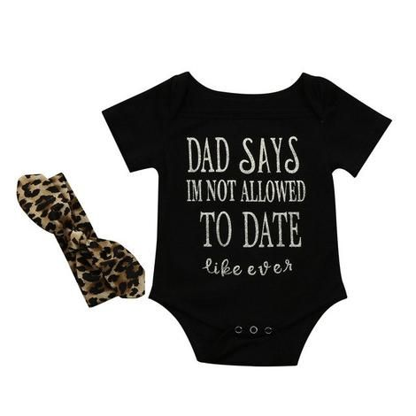 a83544798 Dad Says I m Not Allowed to Date Ever Romper + Headband Caffeine ...