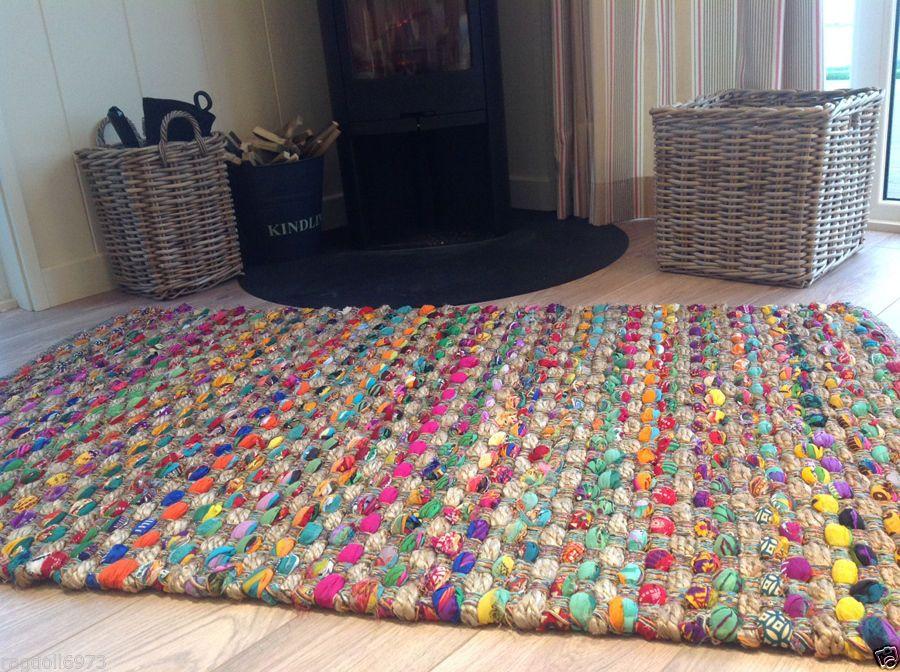 Stunning Fair Trade Indian Thick Slub Weave Multi Coloured Rag Rug 90cm X 150cm Rag Rug Cotton Rag Rug Rugs