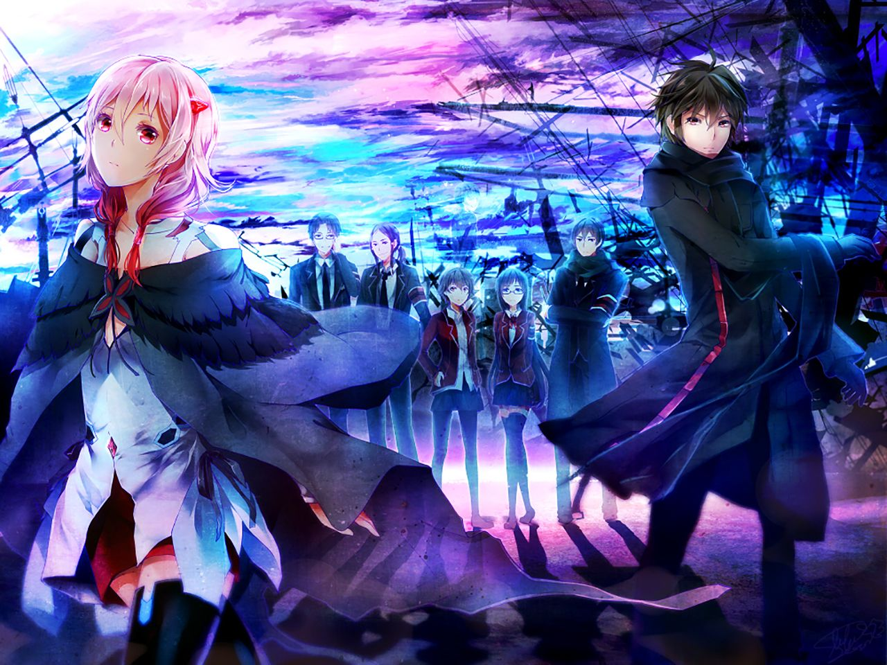 Guilty Crown Wallpaper Inori: Anime Guilty Crown Shu Ouma Inori Yuzuriha Wallpaper