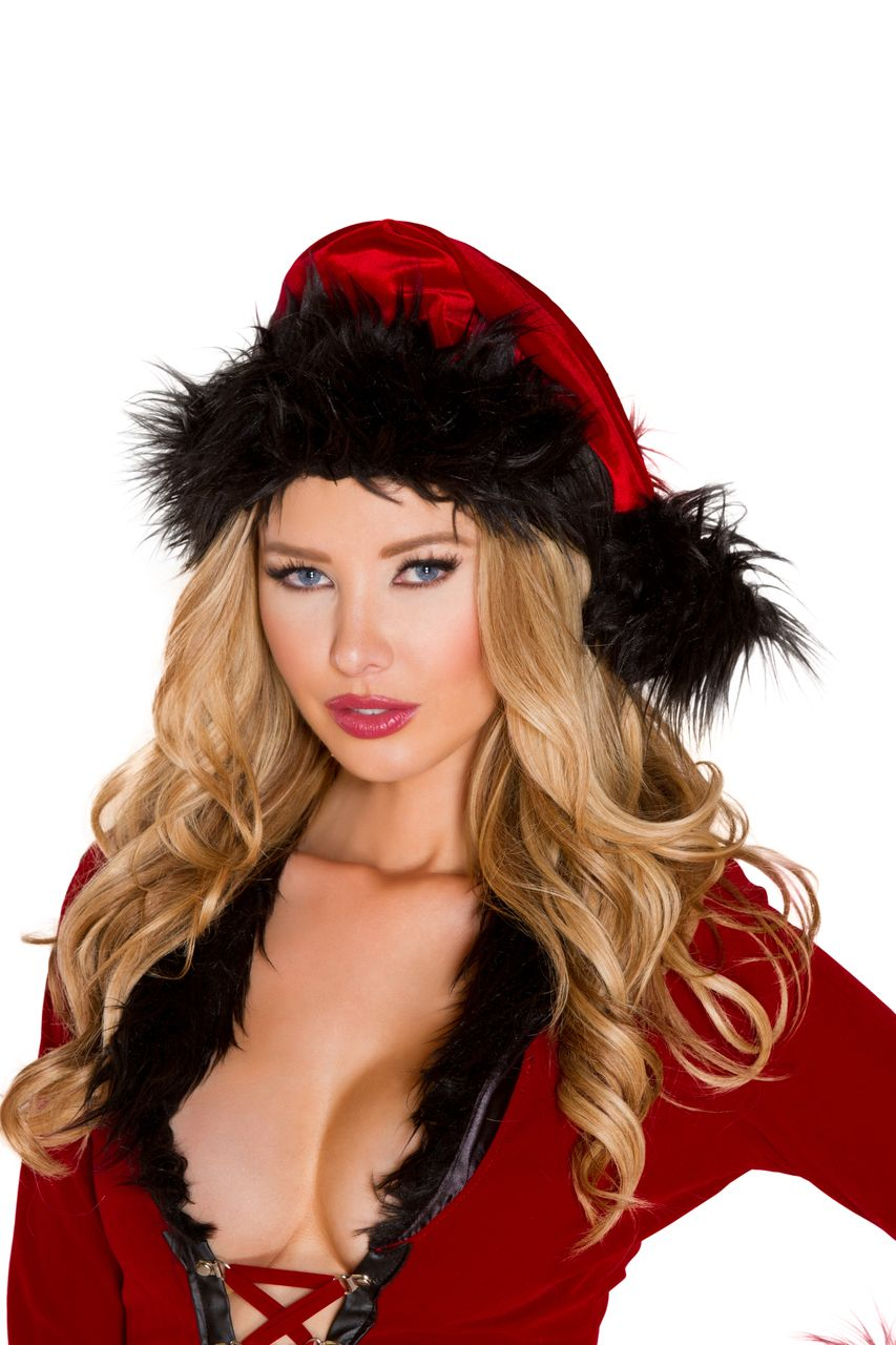 79aac2ba9a4e8 Sexy Roma Red Black Christmas Fur Trimmed Hat Mrs. Claus Evil Santa s Cutie  Lil  Little Helper Holiday Costume Accessory