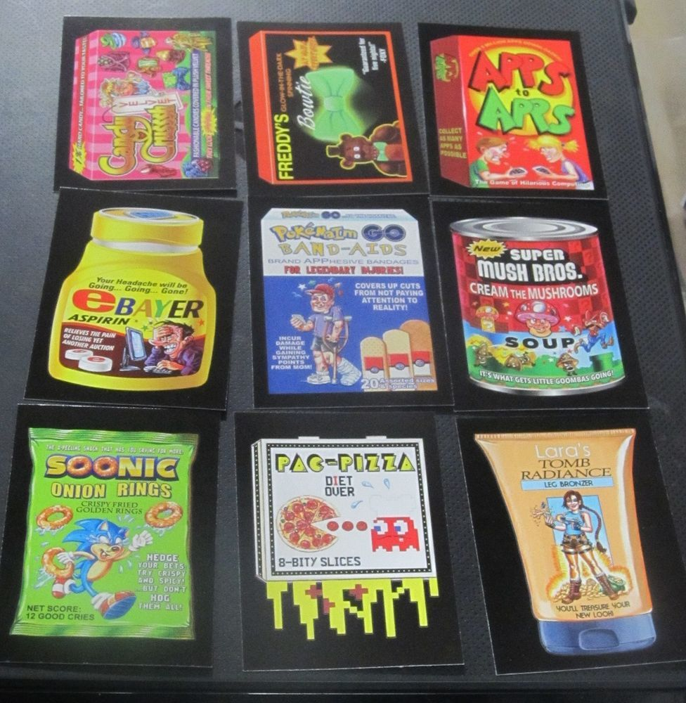 WACKY PACKAGES 50th ANNIVERSARY CRAZY APP SET OF 9 STICKERS CANDY CRUSH POKEMON    eBay