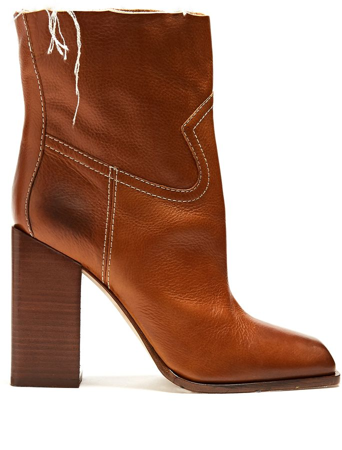 4c8f6c60c SAINT LAURENT Jodie square-toe leather ankle boots | Boots&booties ...