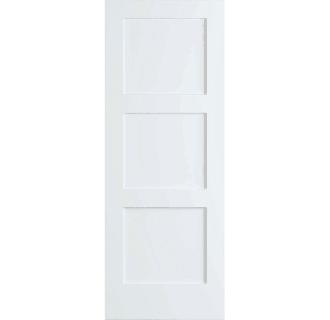 Frameport Fa 3341755w Primed Shaker 36 Inch By 80 Inch Flat 3 Panel Interior Slab Passage Door In 2020 Primed Doors Paneling Sliding Mirror Closet Doors