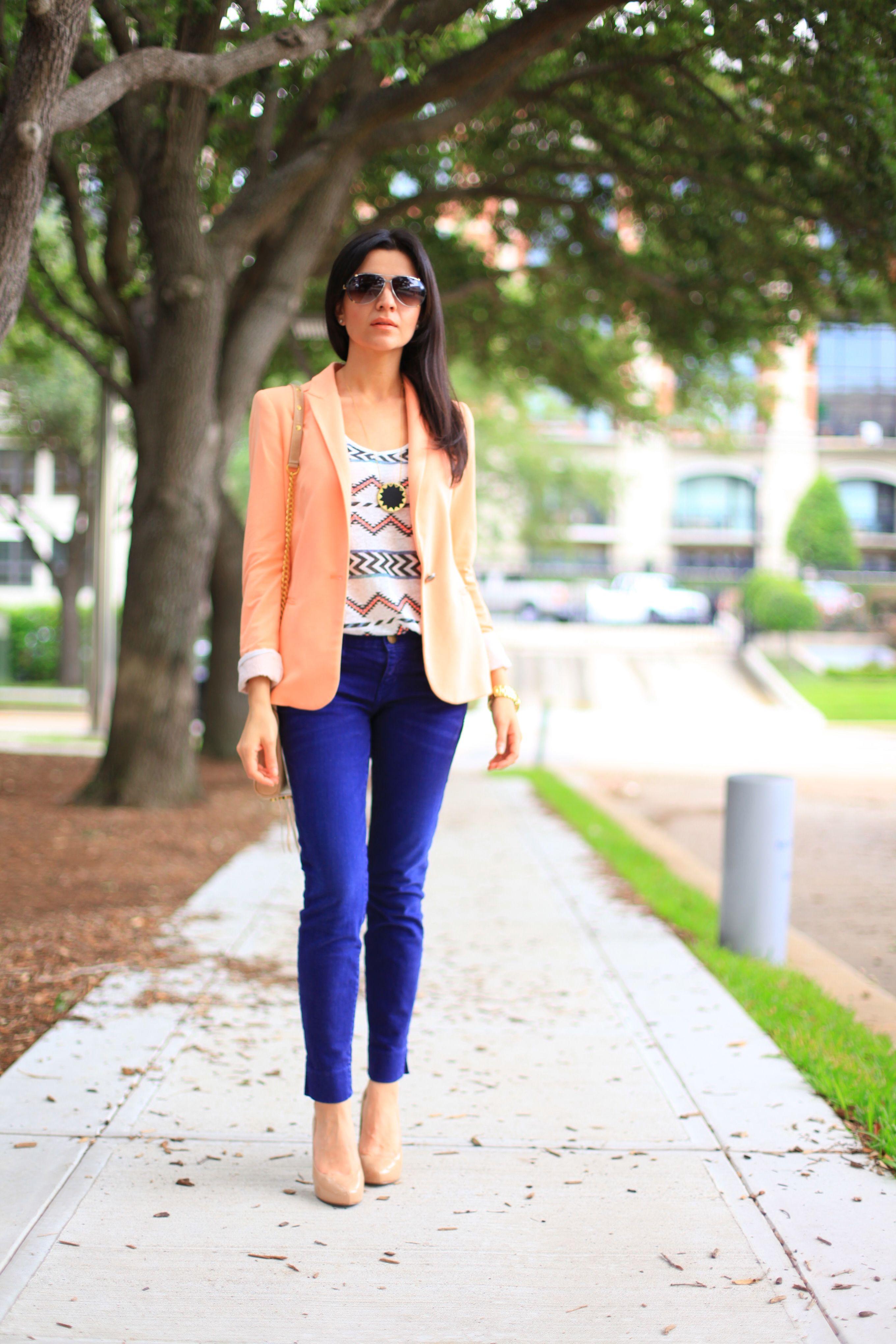 Peach blazer, indigo jeans