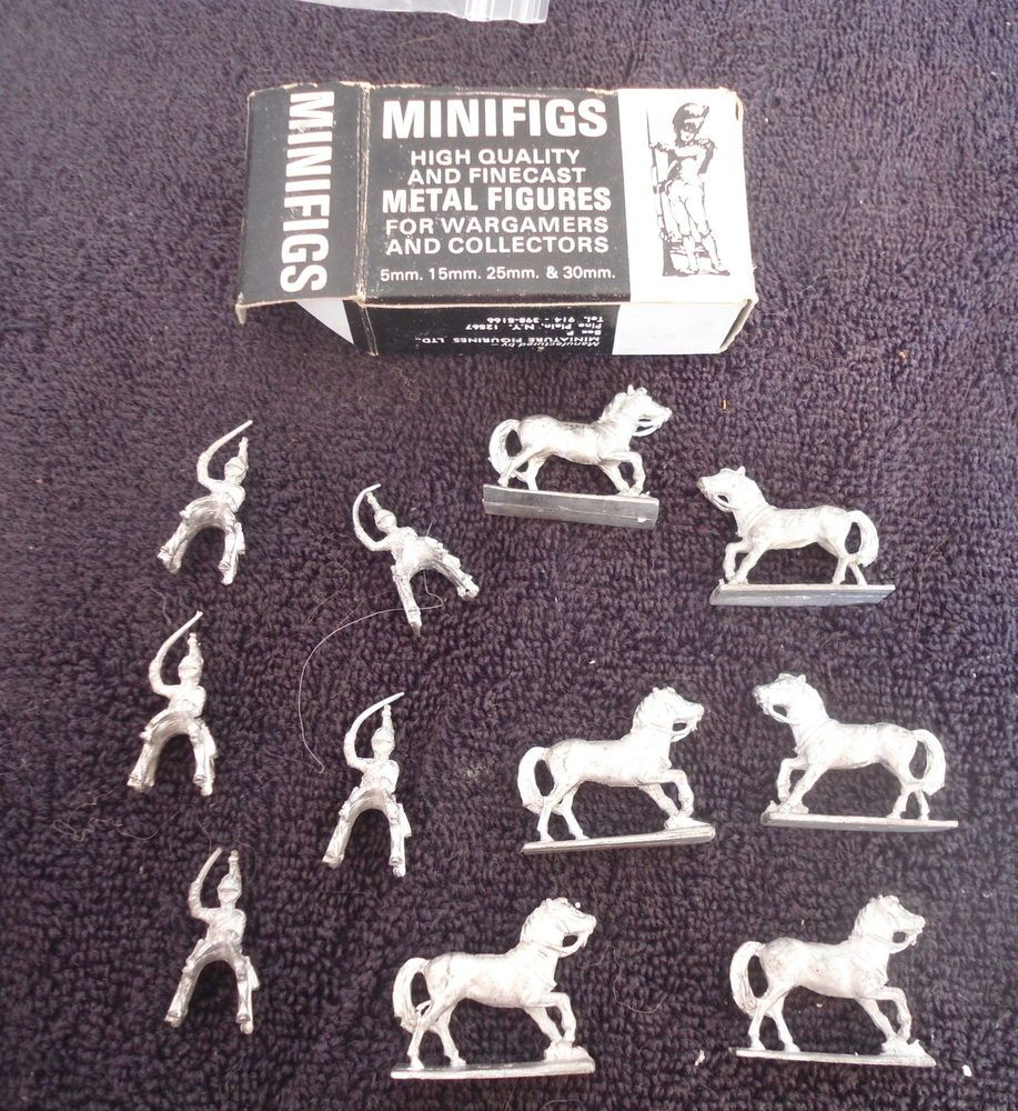 Minifigs #BNC3 30mm Horse and Riders White Metal Military Figure Parts #Minifigs