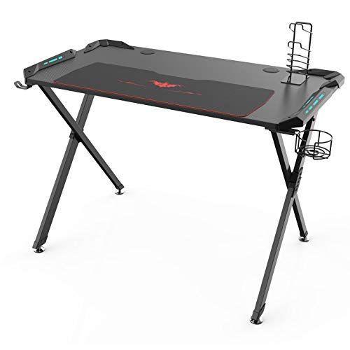Eureka Ergonomic X1-S Gaming Desk - – Gaming Computer Desk, Gaming Table PC Gaming Desk with LED Lights, Carbon Fiber, Cup Holder and Headphone Hook – Black #gamingdesk