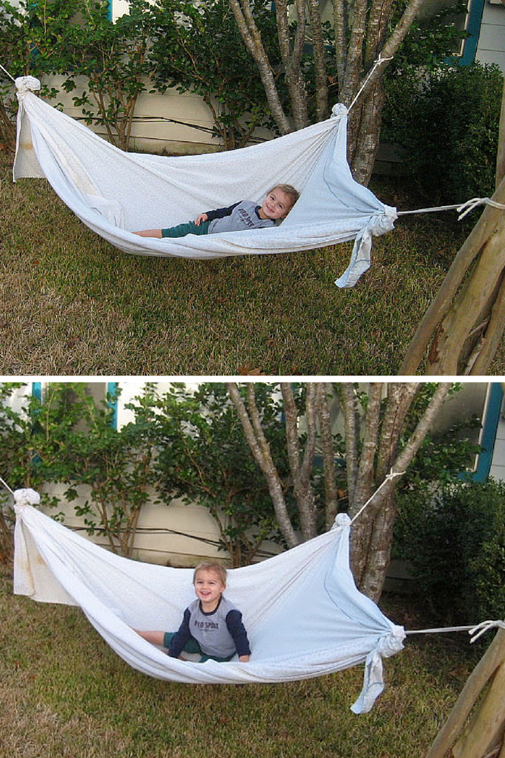 awesome u2014make a diy hammock from a bed sheet homemade hammock   genius   diy hammock backyard and homemade hammock  rh   pinterest