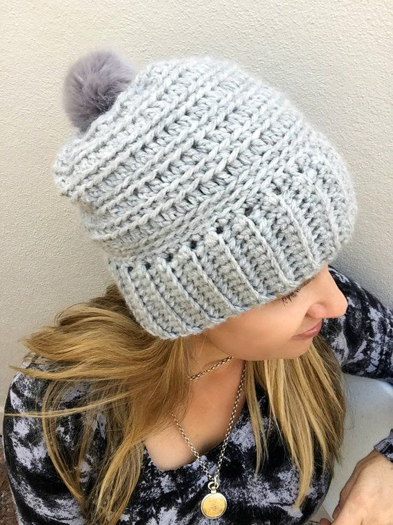 Slouchy Ribbed Beanie Pattern for chunky yarn - Crochet Hat Pattern No.240  Digital Download English e45f33a422a