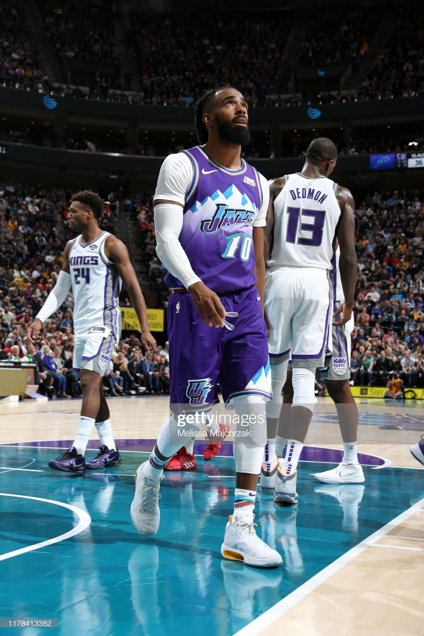 Mike Conley Of The Utah Jazz Looks On Against The Sacramento Kings On Utah Jazz Mike Conley Nba Pictures