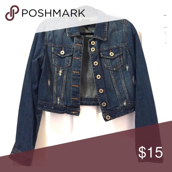 Cropped jean jacket Cropped distressed jean jacket Jackets & Coats Jean Jackets