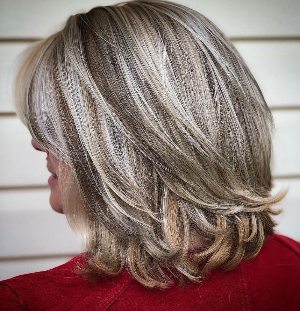 Platinum Balayage Bob With Flicked Ends Mid Length Hair With Layers Blending Gray Hair Medium Length Hair Styles