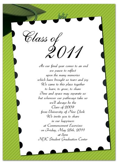 Free Invitation Templates For Word Graduation Announcement Green White Template Gi