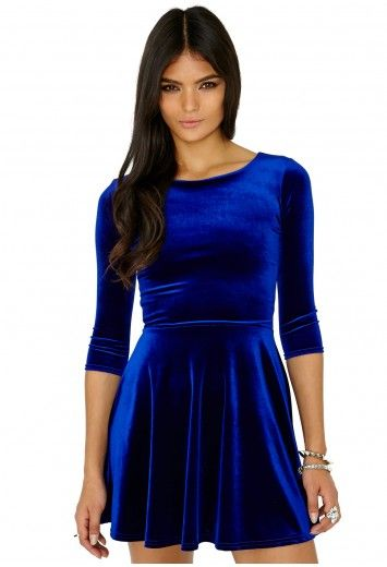 Missguided - Ofelita Velvet Skater Dress In Cobalt Dress for my ...