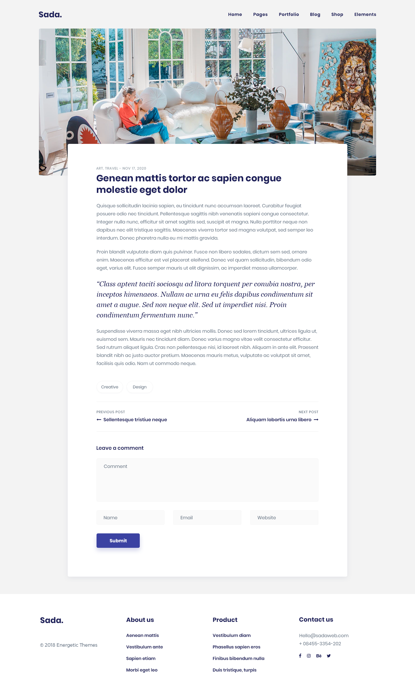 Sada Is Minimalist Trendy And Modern Wordpress Theme For Blog And Shop Contemporary Card Style Mater Modern Wordpress Themes Blog Layout Blog Themes Wordpress