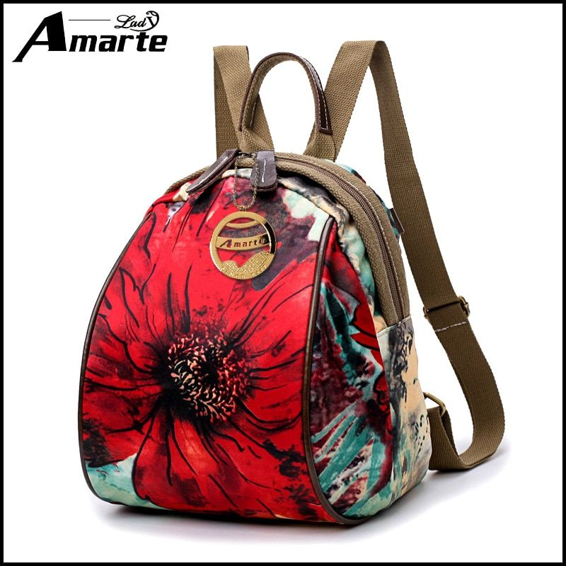 36fe7dc5d28db Amarte Nylon Printing Backpack Female Women Bag Small Backpack Bags For  Women 2017 Backpacks For Adolescent Girls Women Mochila
