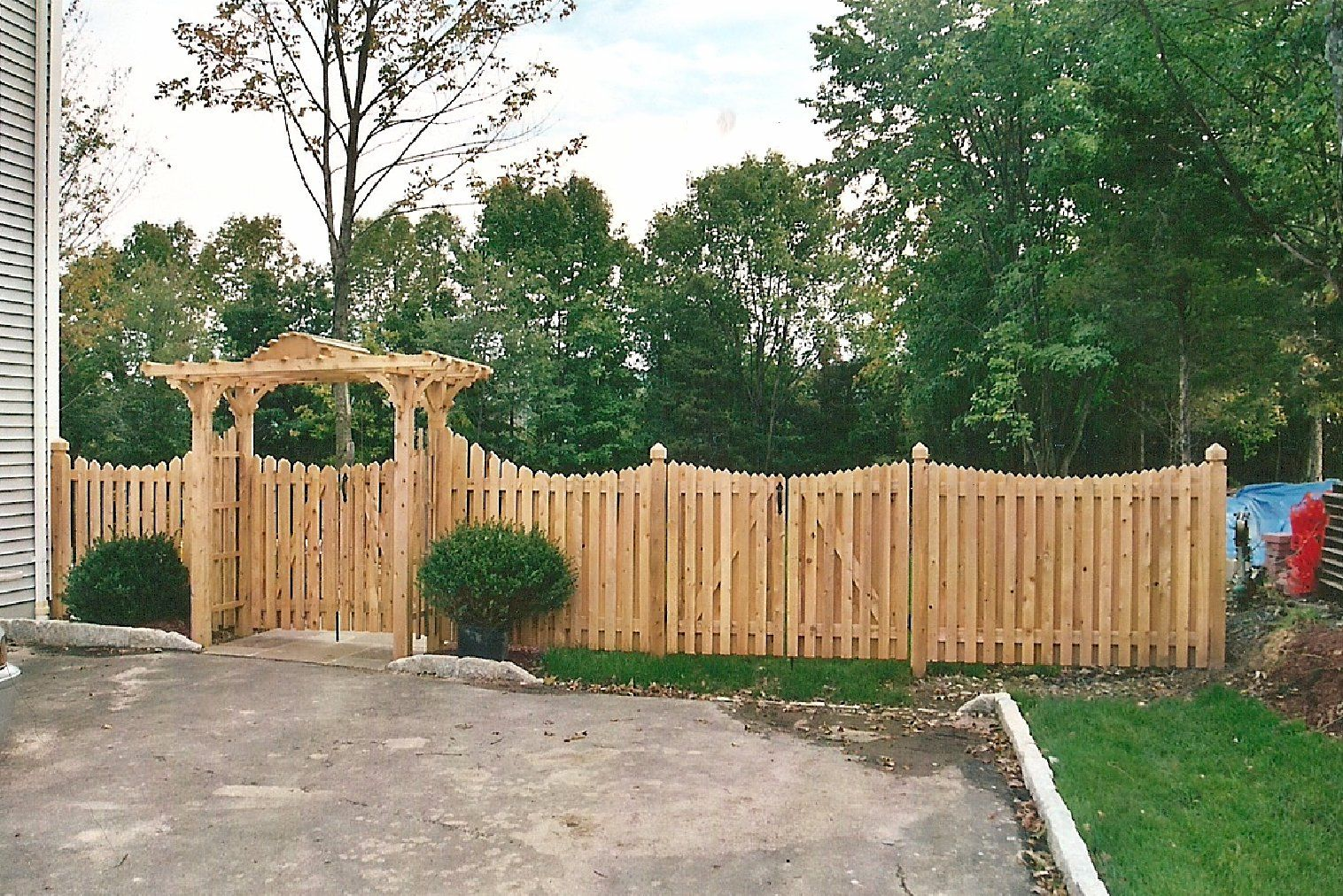 Cut the tops of cheap dog eared panels in a graceful curve for 4 foot fence ideas